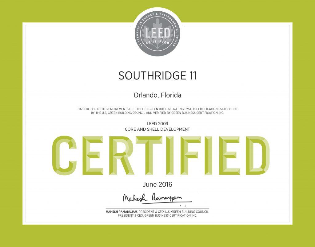 Southridge building xi leed certified horton harley for Leed certified house
